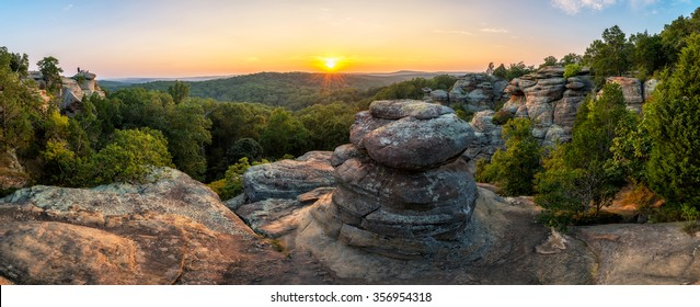 A summer sunset over Garden of the Gods in Southern Illinois