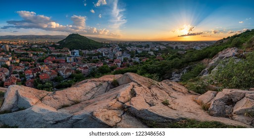 Summer sunset over Plovdiv city, Bulgaria. European capital of culture 2019 and the oldest living city in Europe. Photo from one of the hills in the city.