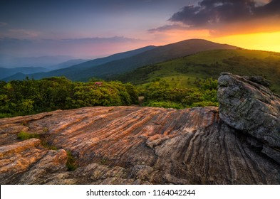Summer sunset over Roan Mountain from the Appalachian Trail