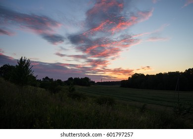 Summer sunset panorama