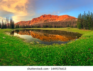 Summer sunset panorma with Hayden Peak, Uinta Mountains, Utah, USA.