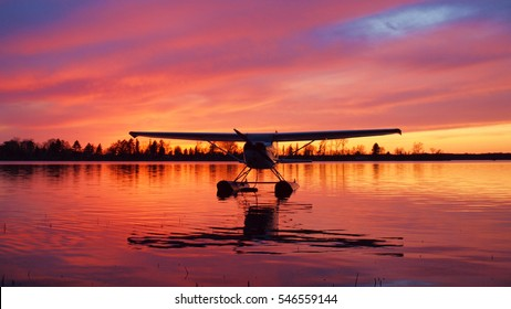 Summer sunset with seaplane