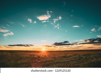 Summer Sunset Sky Above Countryside Rural Meadow Landscape. Sunrise Sun Rising Above Rural Countryside Field.