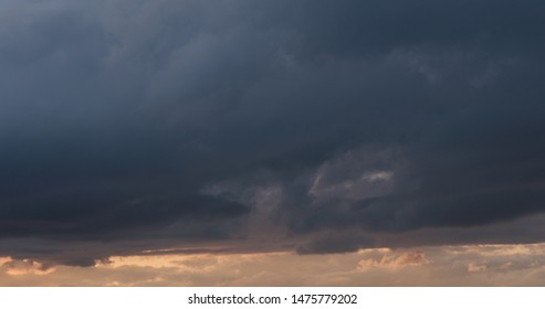 summer sunset skyscape with moving clouds