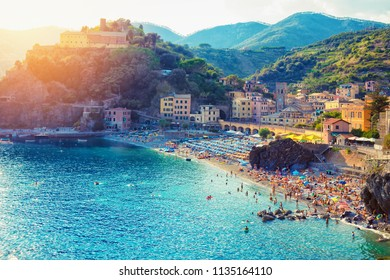 Summer sunset view of Monterosso, Cinque Terre, Italy