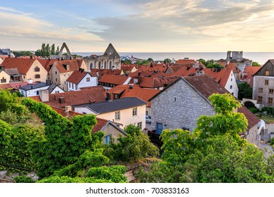 Summer sunset in Visby Old Town, Gotland, Sweden