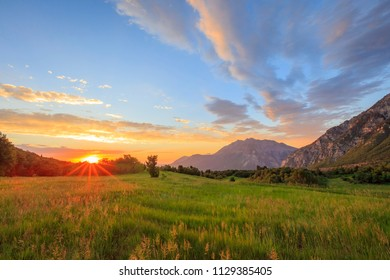 Summer sunset in the Wasatch Mountains, Utah, USA.