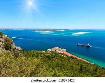Summer sunshiny sea coast landscape. Top view from Nature Park Arrabida in Setubal, Portugal.