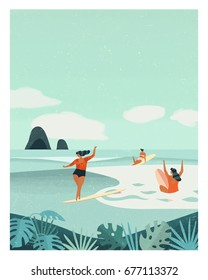 Summer surfing retro poster. Girls surfers having fun in the ocean.