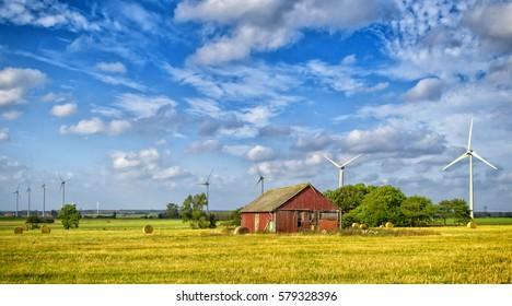 Summer Swedish farm in panorama landscape