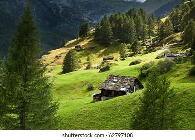 Summer Swiss alpine wiew