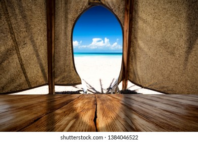 Summer table background of free space for your decoration and wild west tent.