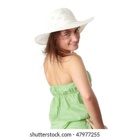 Summer teen girl in big hat, isolated on white background