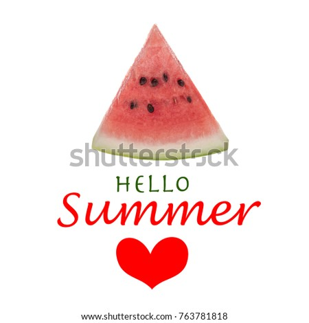 summer template watermelon slice on white stock photo edit now