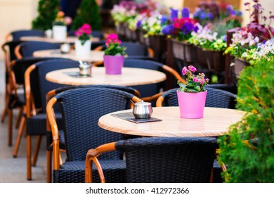 summer terrace cafe. flowers, summer background