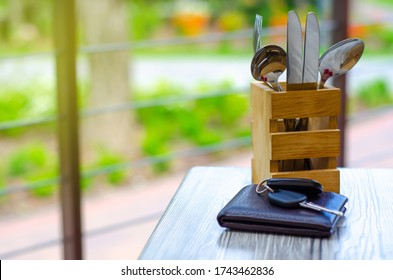 Summer terrace cafe restaurant, business lunch on nature blur background