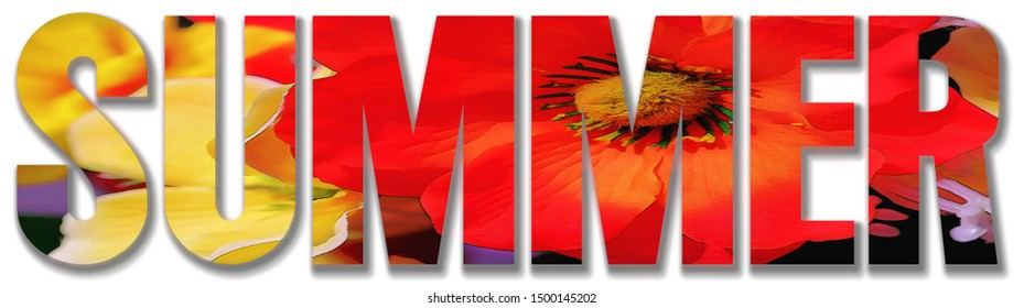 Summer Text mixed with Flowers Foreground Image on white background