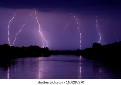 Summer Thunderbolt Night Storm over River at Night