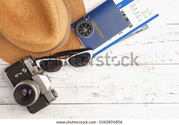 Summer time background with accessories