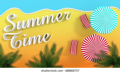 Summer Time beach with beach chairs and umbrellas - 3d rendering