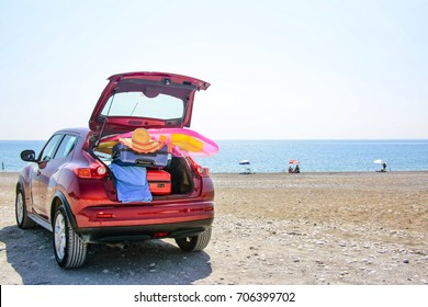summer time and car on beach