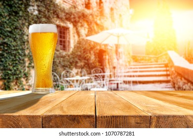 Summer time and cold beer in bar