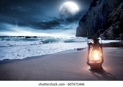 summer time and lamp on beach