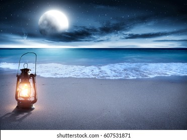 summer time on beach at night