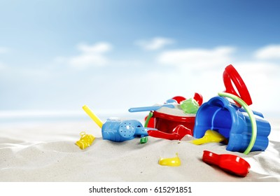 Summer time on beach and toys