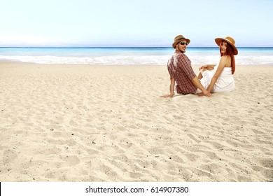 Summer time on beach and two lovers in sun light