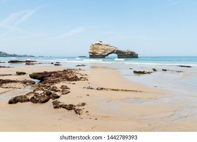 Summer time on Miramar beach in Biarritz city. Seascape of the Basque Coast, France.
