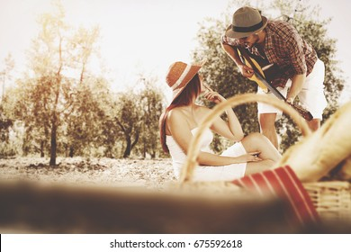 Summer time and two lovers on picnic
