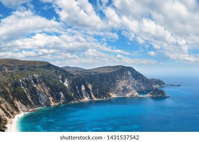 Summer top view of Petani Beach (Kefalonia, Greece). Panorama.