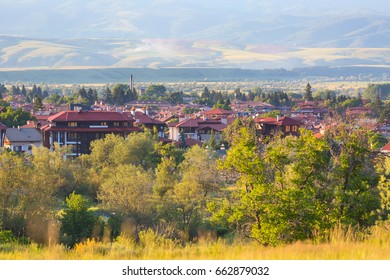 Summer town panorama of bulgarian all season resort Bansko, Bulgaria