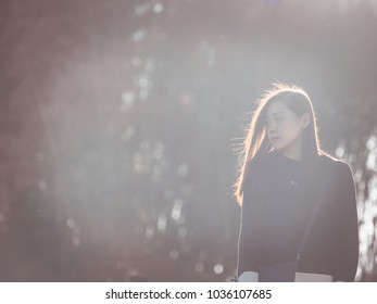 Expo Stands Lightsee : Travel photographer concept backside woman hoodie stock photo edit