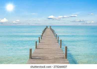 Summer, Travel, Vacation and Holiday concept - Wooden pier in Phuket, Thailand - Shutterstock ID 273264437