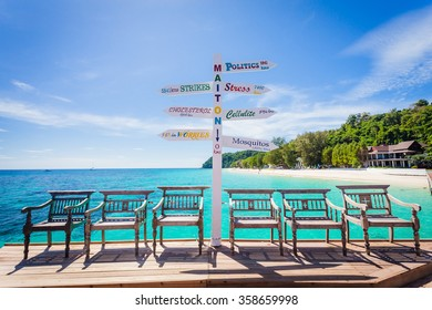 Summer, Travel, Vacation and Holiday concept - Wooden pier in Maiton Island ,Phuket, Thailand