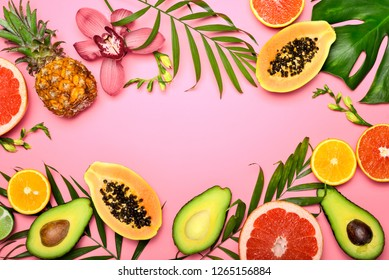 Summer tropical background with a blank space for a text, flat lay