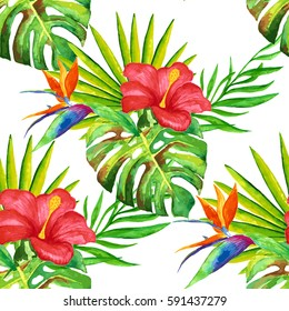 Summer tropical background of palm leaves, tropical palm leaves background, summer background,seamless summer pattern