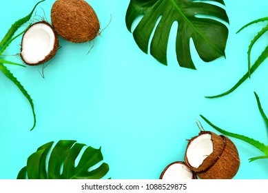 Summer tropical background with a space for a text, flat lay, view from above
