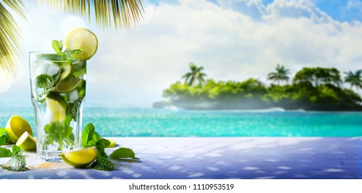 Summer Tropical Cocktail drink; enjoy mojito Paradise