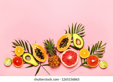 Summer tropical fruits composition, flat lay, space for a text above
