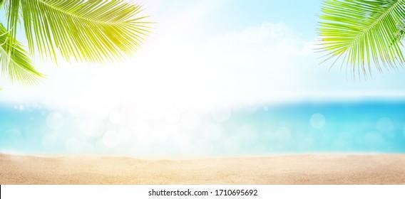 Tropisches Sommermeer mit Sand Strand, Palmenblätter, funkelnde Wellen und blauer sonniger Himmel. breiter Vorlagenhintergrund mit Kopienraum