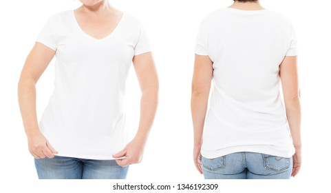 summer t-shirt set isolated on white , woman t shirt , girl tshirt , cropped image