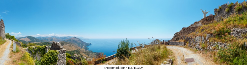 Summer Tyrrhenian sea coast view from San Biagio mountain hill (path to statue of Christ the Redeemer) and ancient town ruins, Maratea, Basilicata, Italy