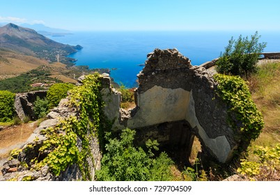 Summer Tyrrhenian sea coast view from San Biagio mountain hill (road to statue of Christ the Redeemer) and ancient town ruins, Maratea, Basilicata, Italy