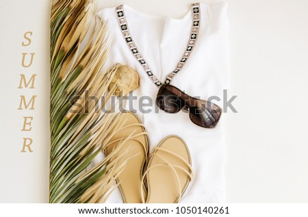 de8a64679350 Summer Vacation Background Flat Lay Beach Stock Photo (Edit Now ...