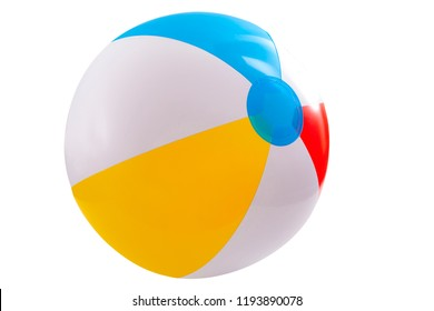 Summer vacation, beach toy and seaside fun activities concept with a inflatable beach ball isolated on white background with a clip path cutout