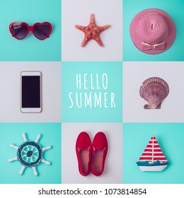 Summer vacation concept with beach items on blue and white background. View from above. Flat lay