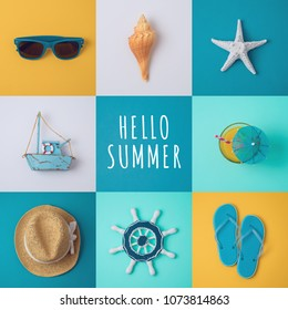 Summer vacation concept with beach items on colorful background. View from above. Flat lay